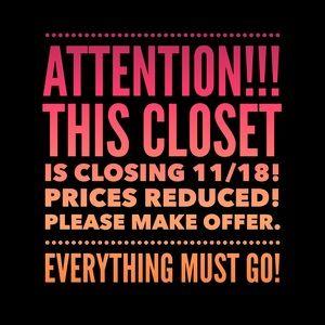 Closet closing 11/18!